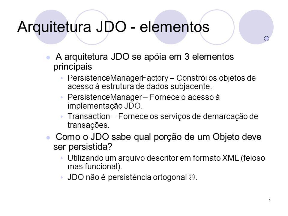 1 Arquitetura JDO - elementos A arquitetura JDO se apóia em 3 elementos principais PersistenceManagerFactory – Constrói os objetos de acesso à estrutura de dados subjacente.