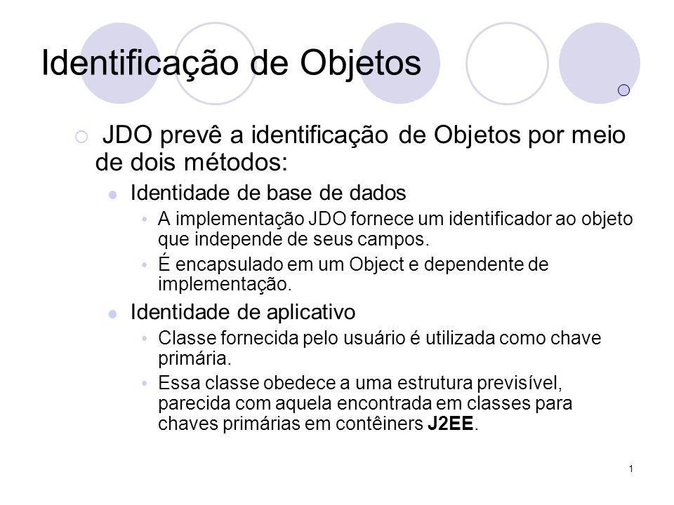 1 Identificação de Objetos JDO prevê a identificação de Objetos por meio de dois métodos: Identidade de base de dados A implementação JDO fornece um identificador ao objeto que independe de seus campos.