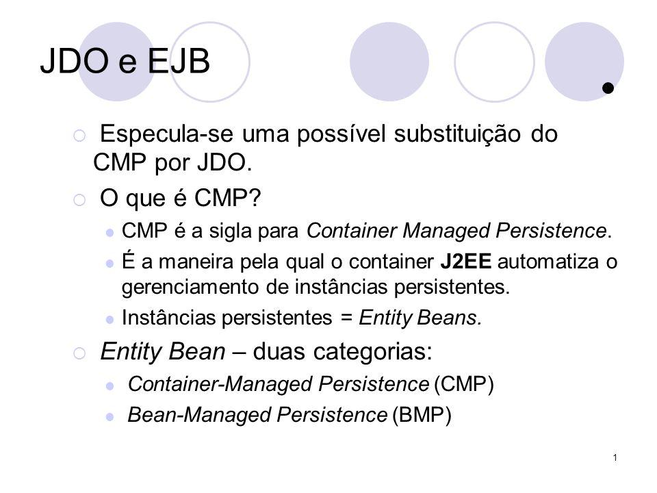 1 JDO e EJB Especula-se uma possível substituição do CMP por JDO.