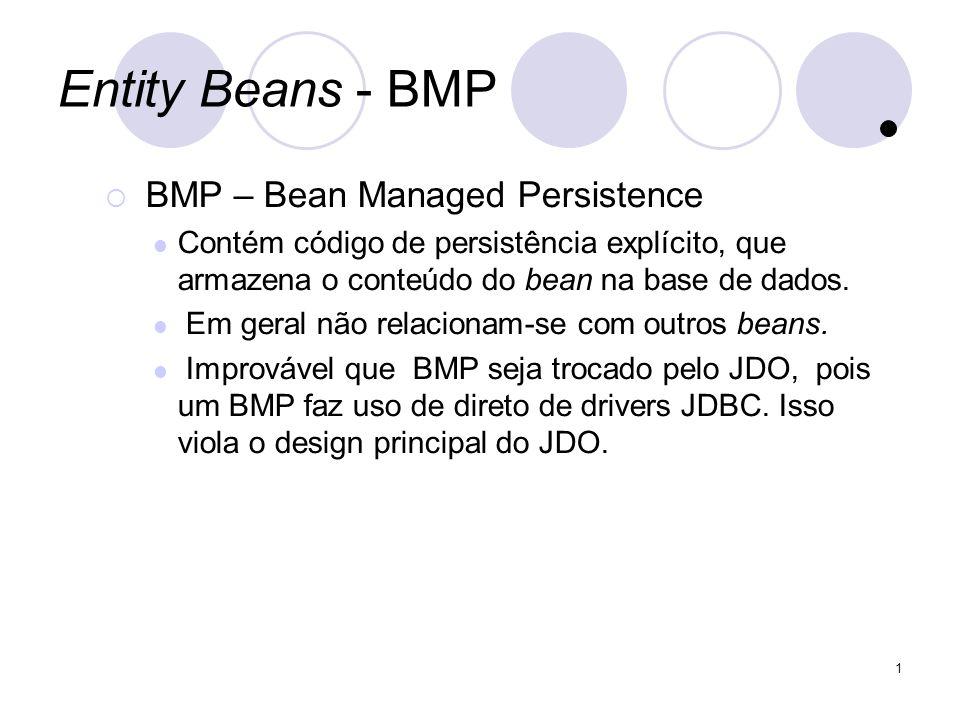 1 Entity Beans - BMP BMP – Bean Managed Persistence Contém código de persistência explícito, que armazena o conteúdo do bean na base de dados.