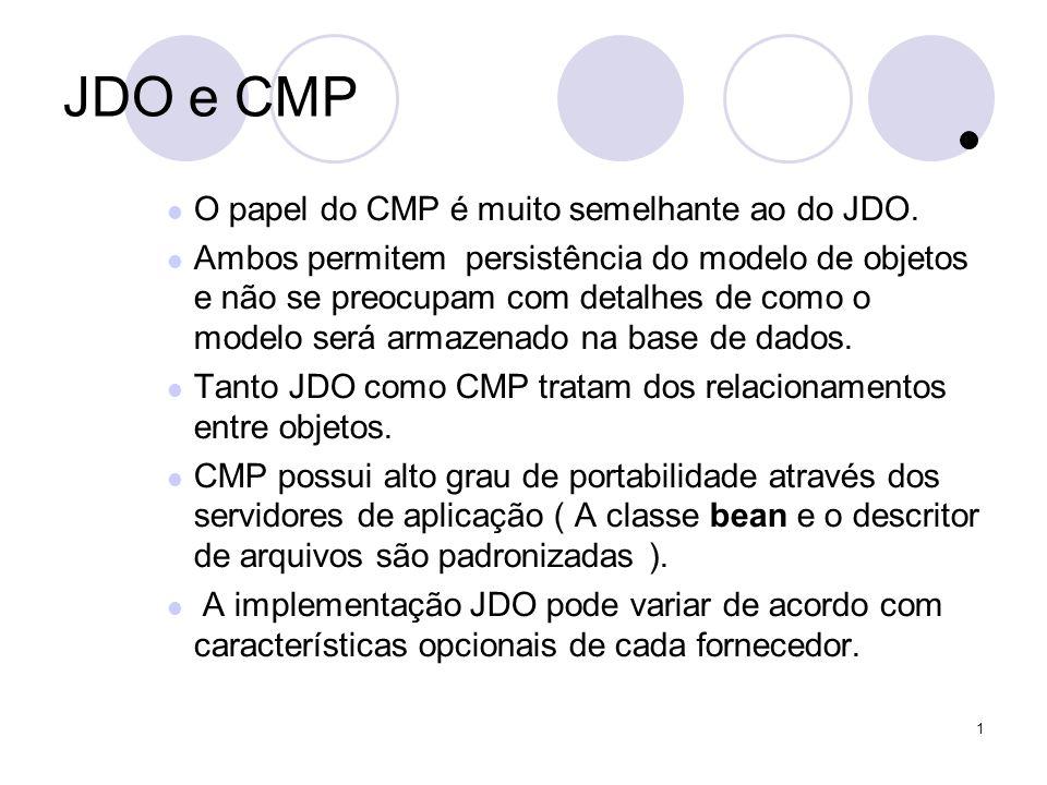 1 JDO e CMP O papel do CMP é muito semelhante ao do JDO.