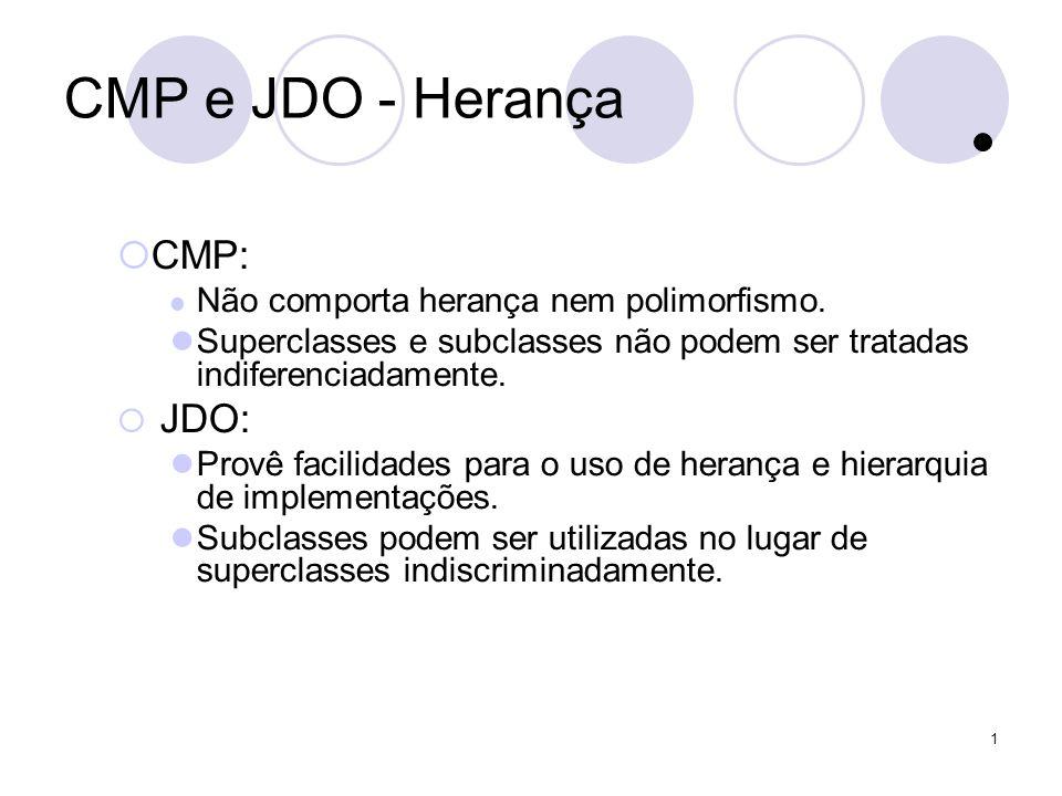 1 CMP e JDO - Herança CMP: Não comporta herança nem polimorfismo.