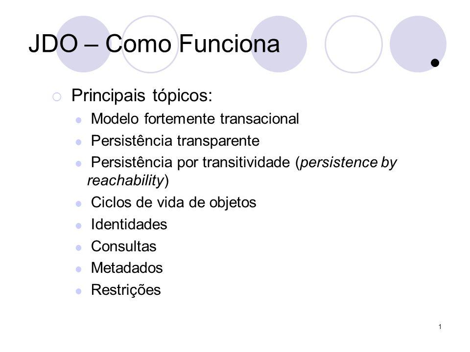 1 JDO – Como Funciona Principais tópicos: Modelo fortemente transacional Persistência transparente Persistência por transitividade (persistence by reachability) Ciclos de vida de objetos Identidades Consultas Metadados Restrições