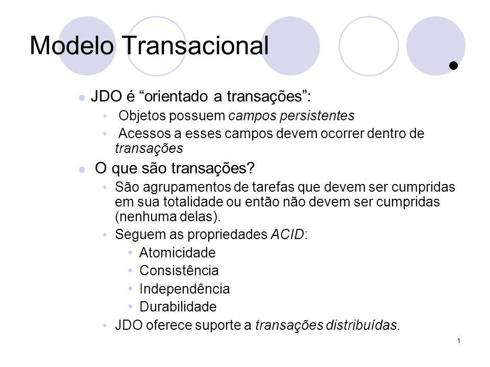 1 Ciclo de Vida de Objetos (1) Perguntas: Como o JDO gerencia a persistência de Objetos.
