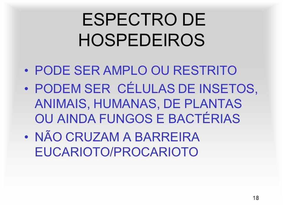 18 ESPECTRO DE HOSPEDEIROS PODE SER AMPLO OU RESTRITO PODEM SER CÉLULAS DE INSETOS, ANIMAIS, HUMANAS, DE PLANTAS OU AINDA FUNGOS E BACTÉRIAS NÃO CRUZAM A BARREIRA EUCARIOTO/PROCARIOTO