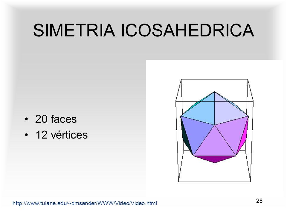 28 SIMETRIA ICOSAHEDRICA http://www.tulane.edu/~dmsander/WWW/Video/Video.html 20 faces 12 vértices