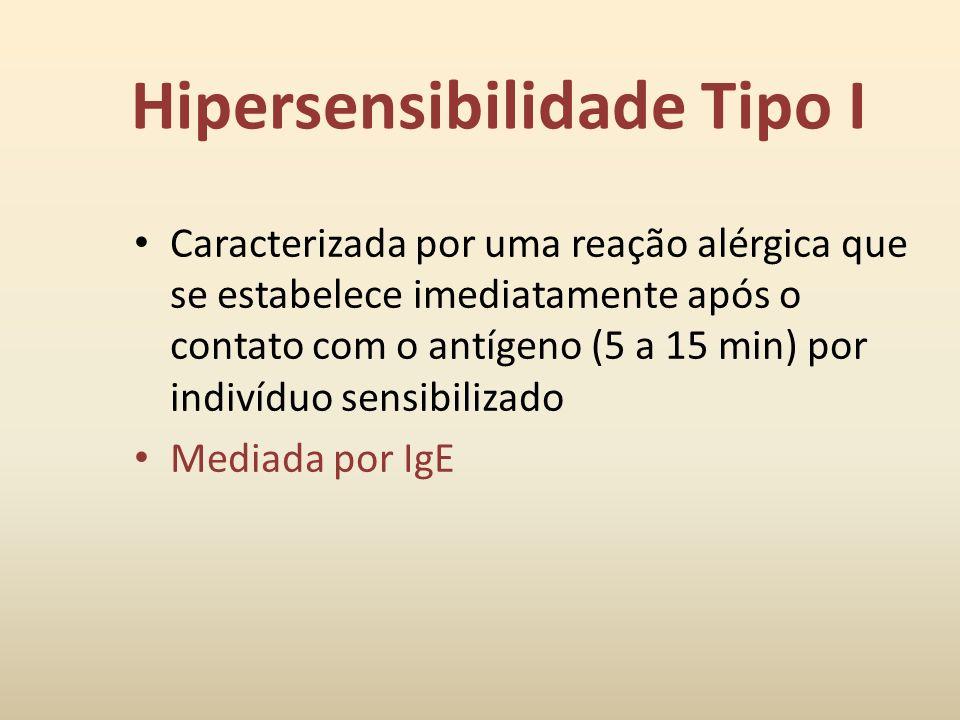 Classificação Tipo I – mediada pelas IgE, ativando mastócitos (anafilática) Tipo II – mediada pela IgG, fagócitos e complemento (citotóxica) Tipo III