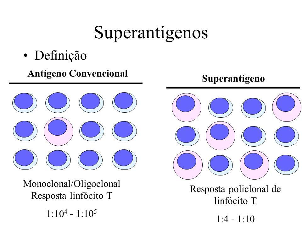 Superantígenos Antígeno Convencional Monoclonal/Oligoclonal Resposta linfócito T 1:10 4 - 1:10 5 Superantígeno Resposta policlonal de linfócito T 1:4