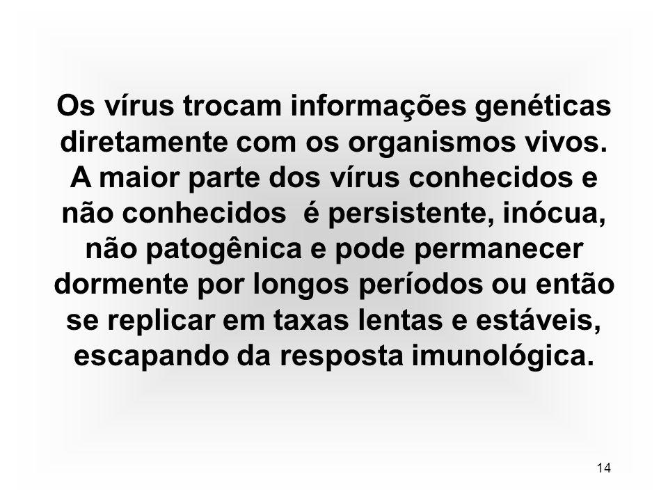 14 Os vírus trocam informações genéticas diretamente com os organismos vivos.