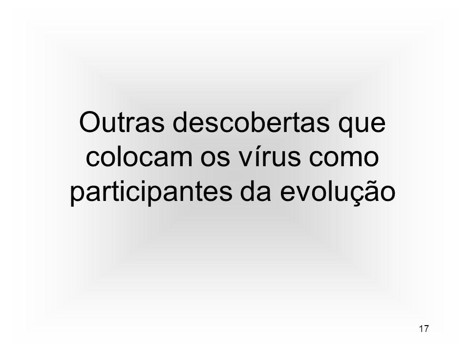 17 Outras descobertas que colocam os vírus como participantes da evolução