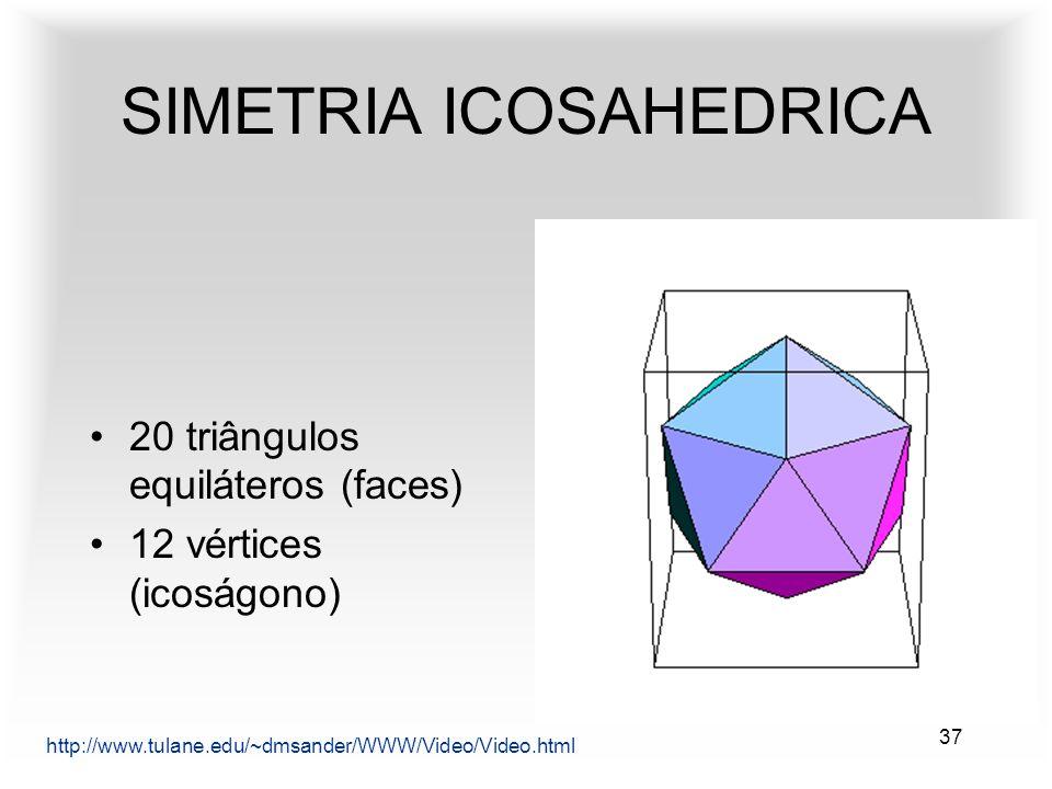 37 SIMETRIA ICOSAHEDRICA http://www.tulane.edu/~dmsander/WWW/Video/Video.html 20 triângulos equiláteros (faces) 12 vértices (icoságono)