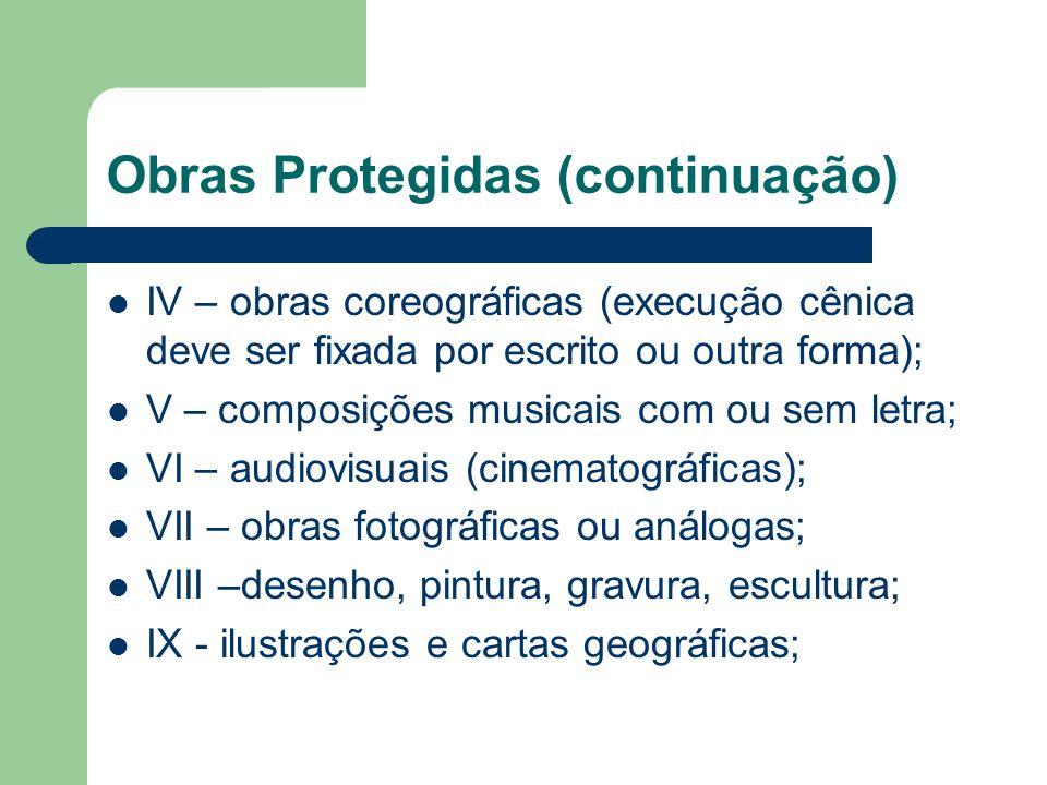 Obras Protegidas (continuação) IV – obras coreográficas (execução cênica deve ser fixada por escrito ou outra forma); V – composições musicais com ou