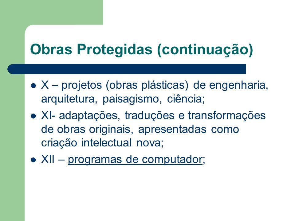 Obras Protegidas (continuação) X – projetos (obras plásticas) de engenharia, arquitetura, paisagismo, ciência; XI- adaptações, traduções e transformaç