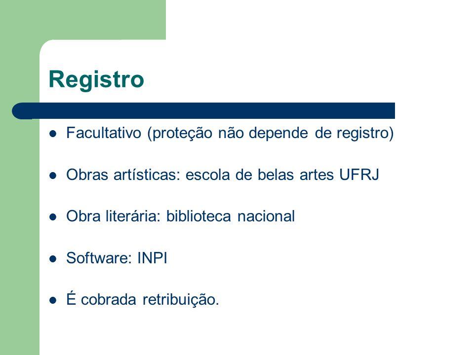 Registro Facultativo (proteção não depende de registro) Obras artísticas: escola de belas artes UFRJ Obra literária: biblioteca nacional Software: INP