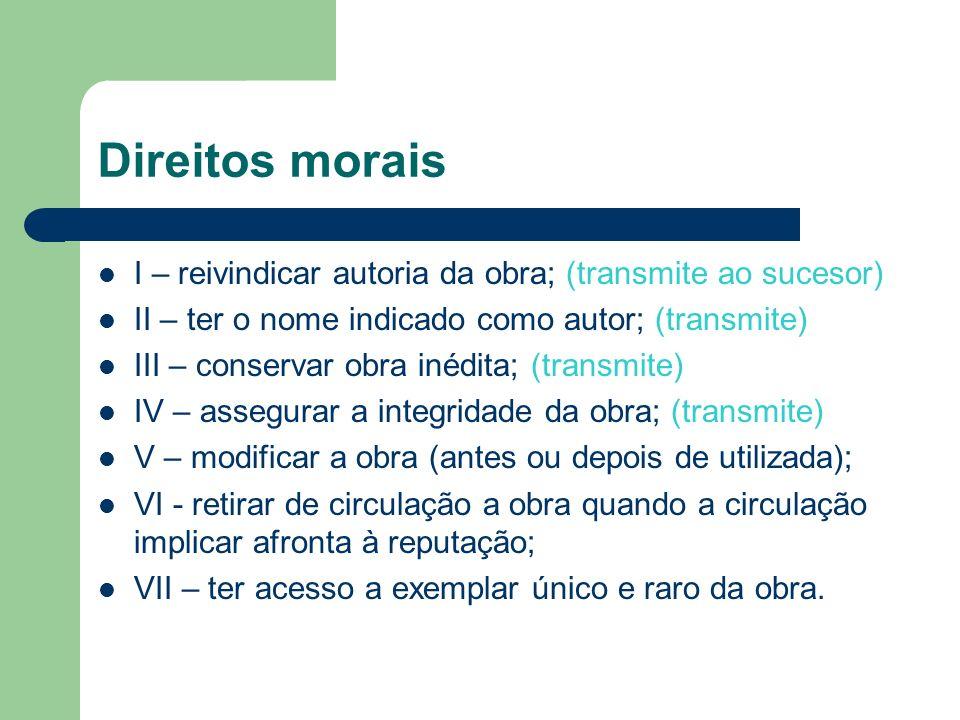 Direitos morais I – reivindicar autoria da obra; (transmite ao sucesor) II – ter o nome indicado como autor; (transmite) III – conservar obra inédita;
