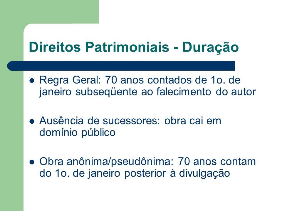 Direitos Patrimoniais - Duração Regra Geral: 70 anos contados de 1o. de janeiro subseqüente ao falecimento do autor Ausência de sucessores: obra cai e