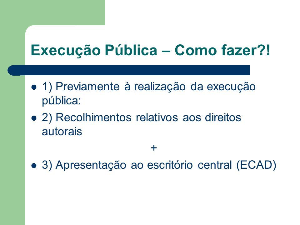 Execução Pública – Como fazer?! 1) Previamente à realização da execução pública: 2) Recolhimentos relativos aos direitos autorais + 3) Apresentação ao
