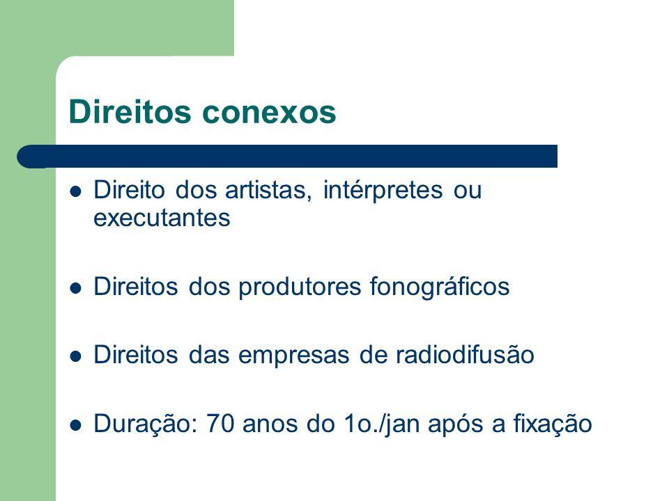 Direitos conexos Direito dos artistas, intérpretes ou executantes Direitos dos produtores fonográficos Direitos das empresas de radiodifusão Duração: