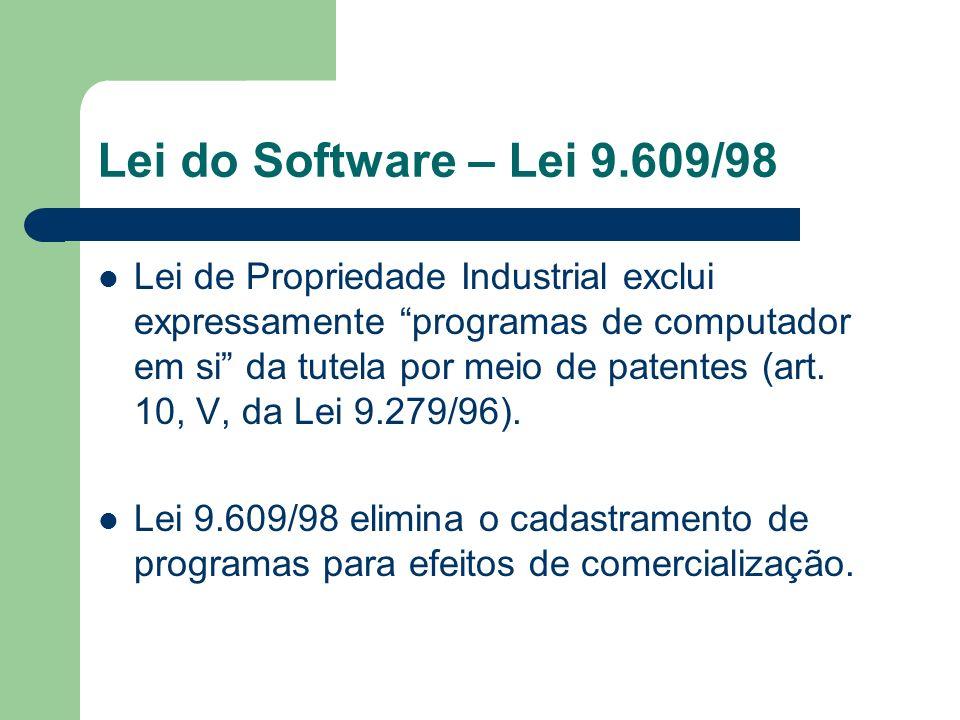 Lei do Software – Lei 9.609/98 Lei de Propriedade Industrial exclui expressamente programas de computador em si da tutela por meio de patentes (art. 1