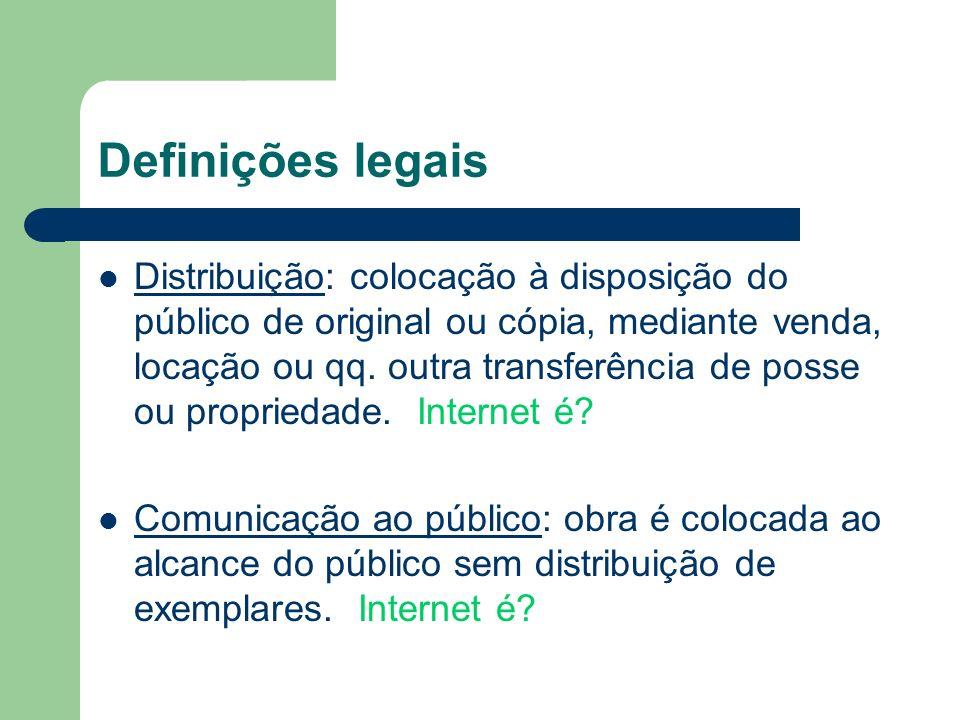Definições legais Distribuição: colocação à disposição do público de original ou cópia, mediante venda, locação ou qq. outra transferência de posse ou
