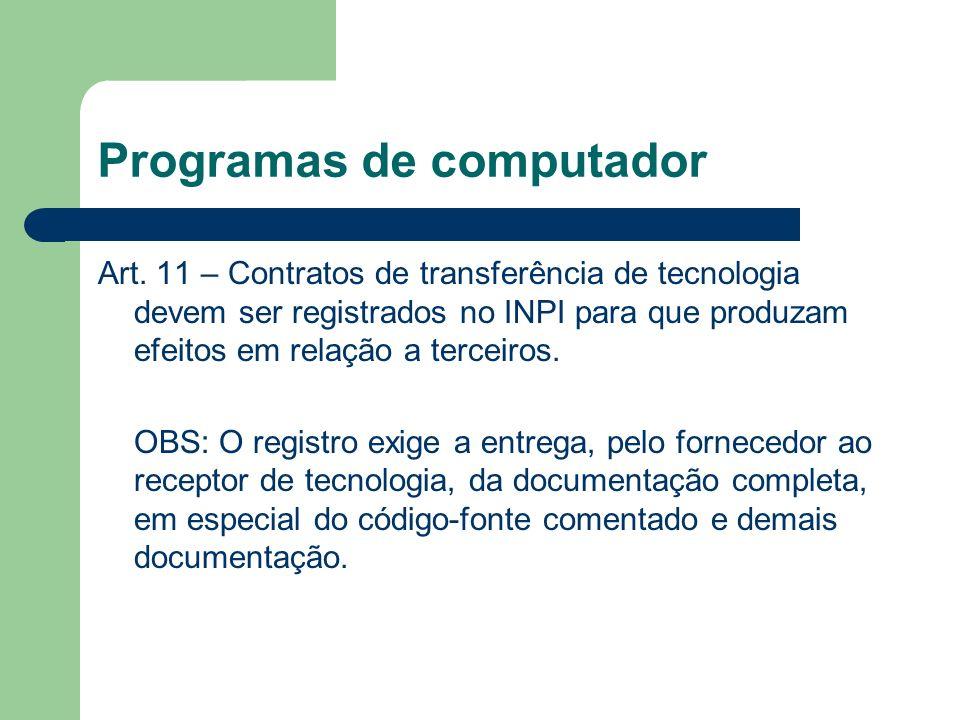 Programas de computador Art. 11 – Contratos de transferência de tecnologia devem ser registrados no INPI para que produzam efeitos em relação a tercei