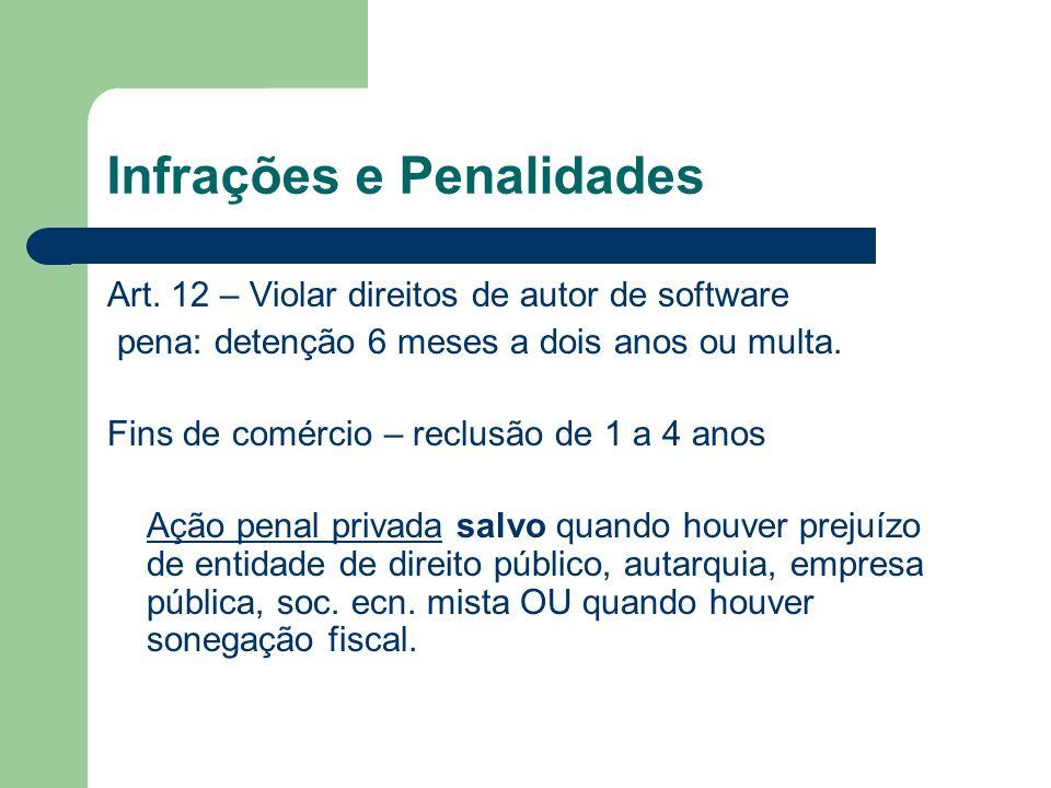 Infrações e Penalidades Art. 12 – Violar direitos de autor de software pena: detenção 6 meses a dois anos ou multa. Fins de comércio – reclusão de 1 a