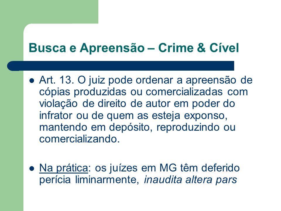 Busca e Apreensão – Crime & Cível Art. 13. O juiz pode ordenar a apreensão de cópias produzidas ou comercializadas com violação de direito de autor em