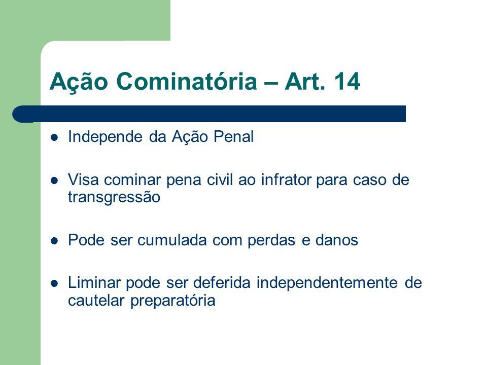Ação Cominatória – Art. 14 Independe da Ação Penal Visa cominar pena civil ao infrator para caso de transgressão Pode ser cumulada com perdas e danos