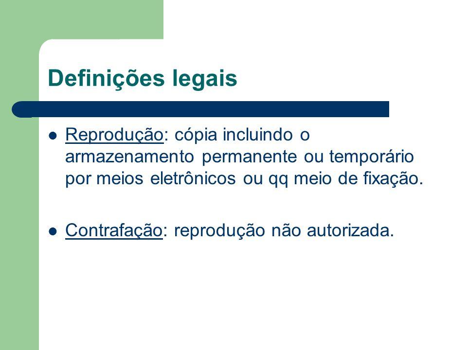 Definições legais Reprodução: cópia incluindo o armazenamento permanente ou temporário por meios eletrônicos ou qq meio de fixação. Contrafação: repro