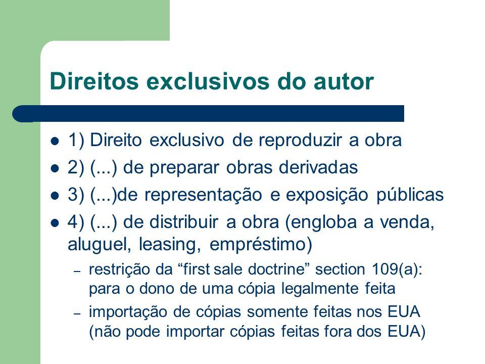 Direitos exclusivos do autor 1) Direito exclusivo de reproduzir a obra 2) (...) de preparar obras derivadas 3) (...)de representação e exposição públi