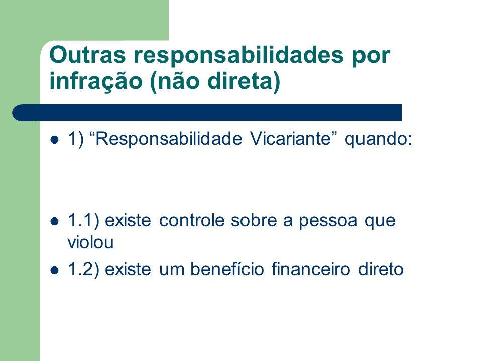Outras responsabilidades por infração (não direta) 1) Responsabilidade Vicariante quando: 1.1) existe controle sobre a pessoa que violou 1.2) existe u