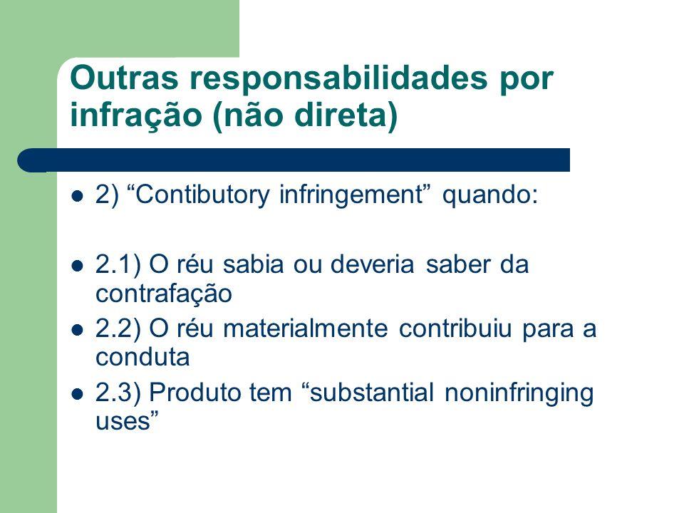 Outras responsabilidades por infração (não direta) 2) Contibutory infringement quando: 2.1) O réu sabia ou deveria saber da contrafação 2.2) O réu mat