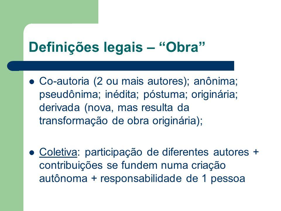 Definições legais – Obra Co-autoria (2 ou mais autores); anônima; pseudônima; inédita; póstuma; originária; derivada (nova, mas resulta da transformaç