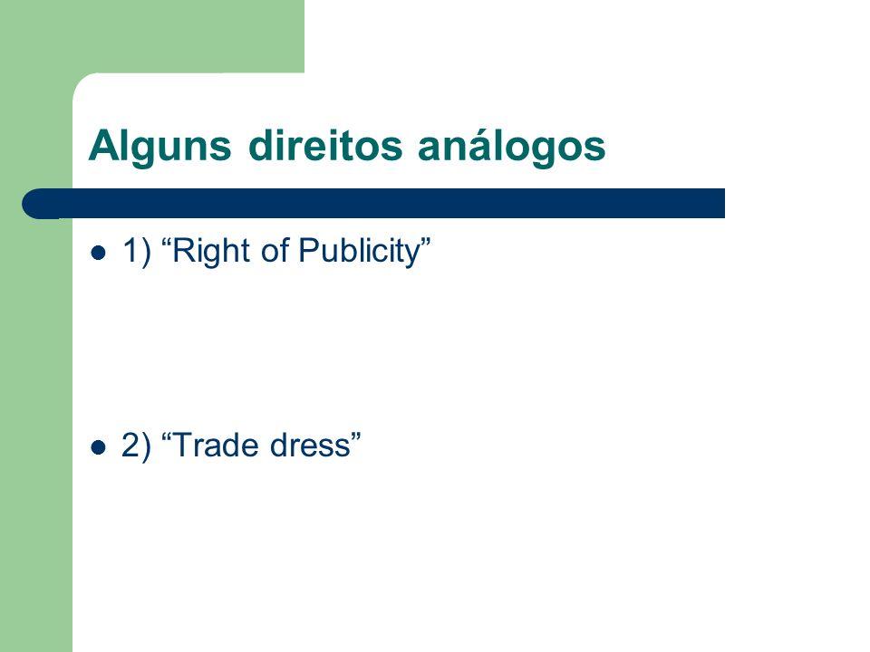 Alguns direitos análogos 1) Right of Publicity 2) Trade dress