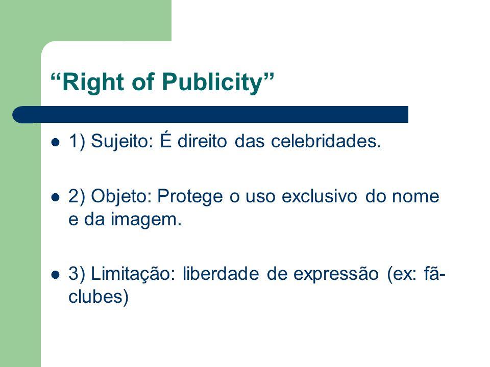Right of Publicity 1) Sujeito: É direito das celebridades. 2) Objeto: Protege o uso exclusivo do nome e da imagem. 3) Limitação: liberdade de expressã