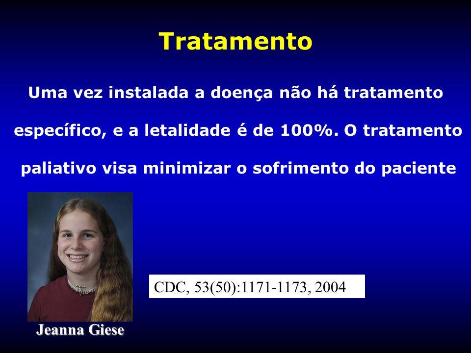 Tratamento Uma vez instalada a doença não há tratamento específico, e a letalidade é de 100%. O tratamento paliativo visa minimizar o sofrimento do pa