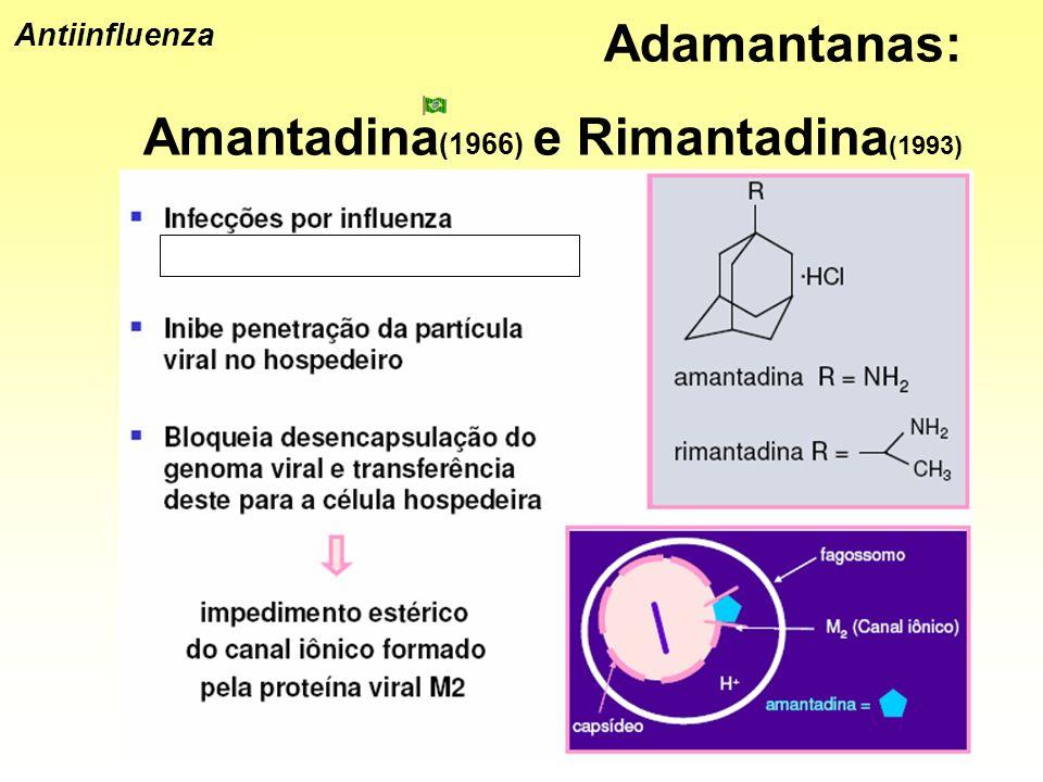 Antiinfluenza Adamantanas: Amantadina (1966) e Rimantadina (1993)