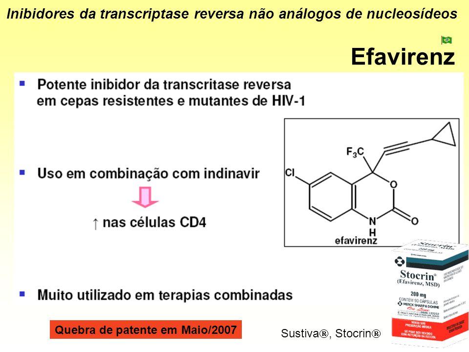 Efavirenz Inibidores da transcriptase reversa não análogos de nucleosídeos Sustiva, Stocrin Quebra de patente em Maio/2007