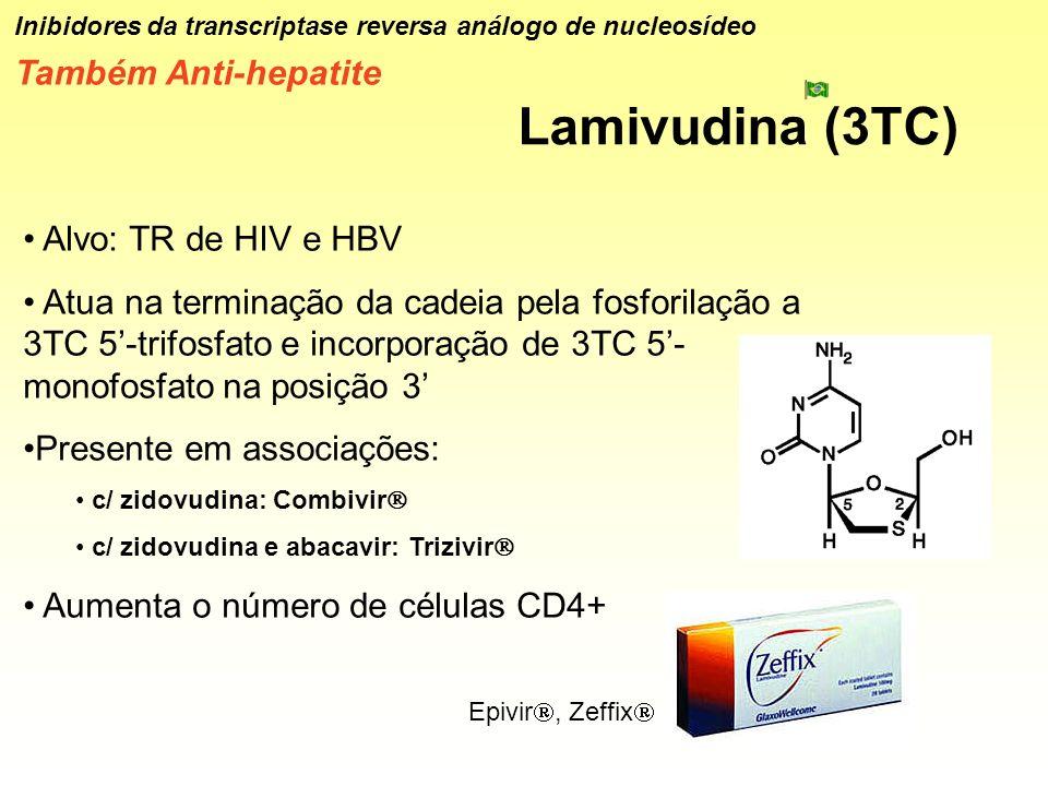 Lamivudina (3TC) Inibidores da transcriptase reversa análogo de nucleosídeo Também Anti-hepatite Alvo: TR de HIV e HBV Atua na terminação da cadeia pe