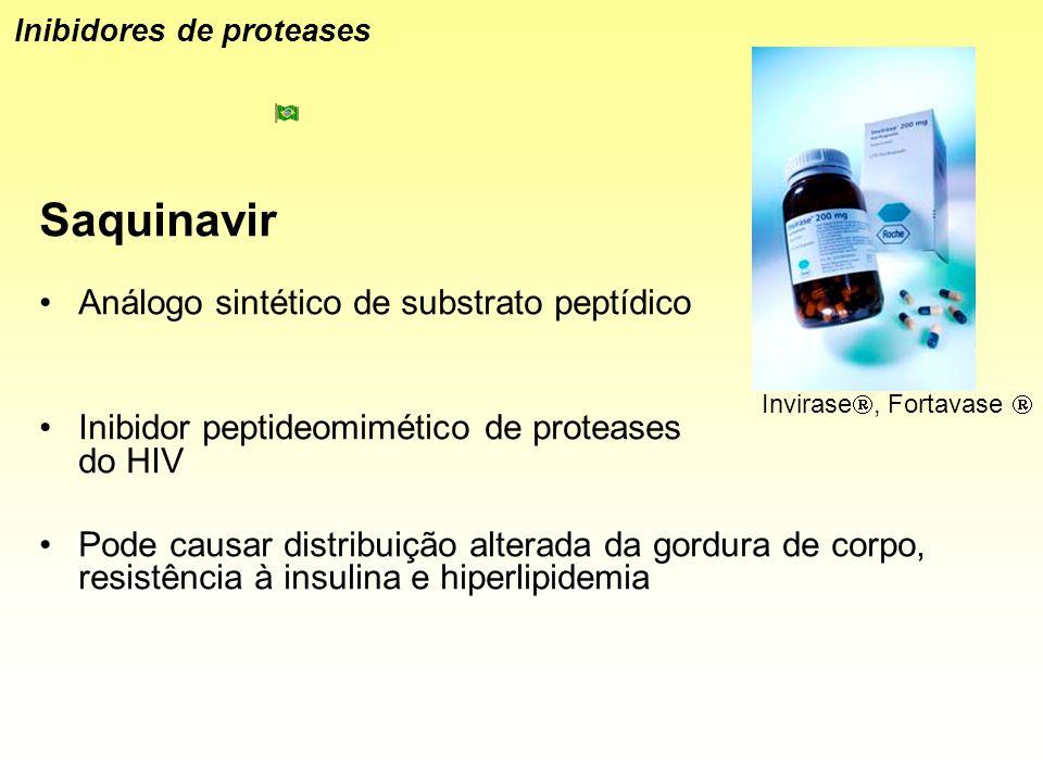 Saquinavir Análogo sintético de substrato peptídico Inibidor peptideomimético de proteases do HIV Pode causar distribuição alterada da gordura de corp