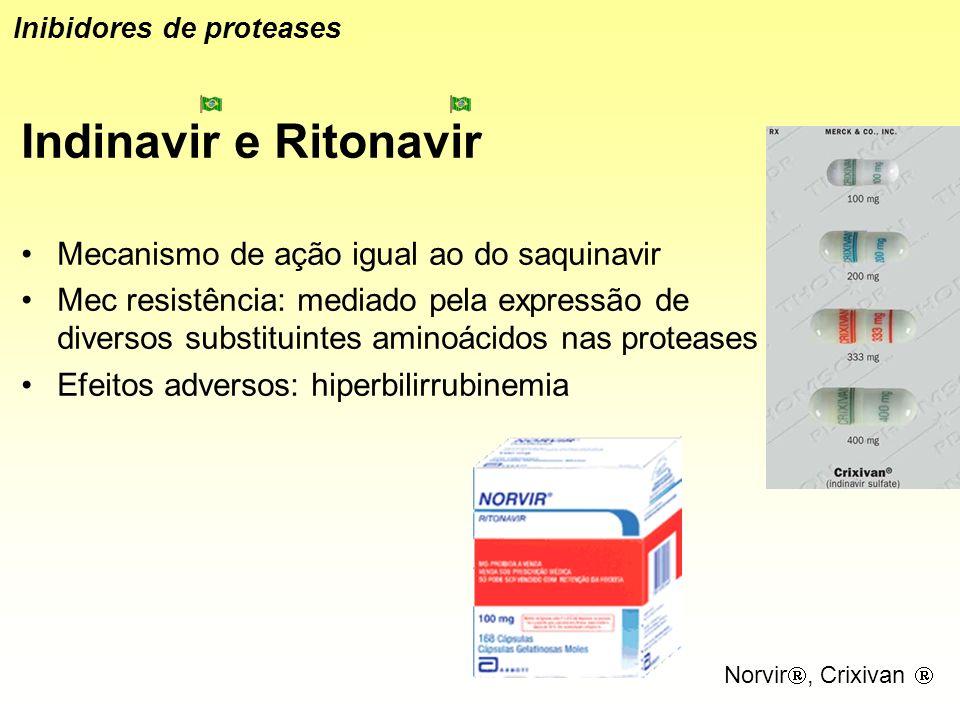 Indinavir e Ritonavir Mecanismo de ação igual ao do saquinavir Mec resistência: mediado pela expressão de diversos substituintes aminoácidos nas prote