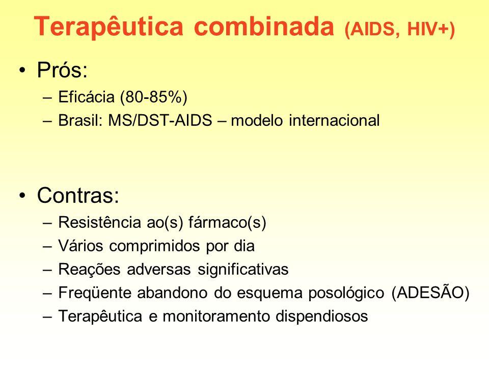 Terapêutica combinada (AIDS, HIV+) Prós: –Eficácia (80-85%) –Brasil: MS/DST-AIDS – modelo internacional Contras: –Resistência ao(s) fármaco(s) –Vários
