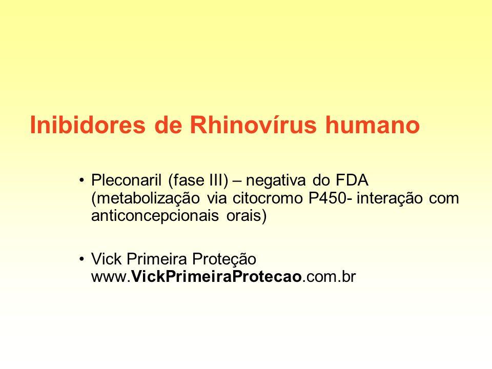 Inibidores de Rhinovírus humano Pleconaril (fase III) – negativa do FDA (metabolização via citocromo P450- interação com anticoncepcionais orais) Vick