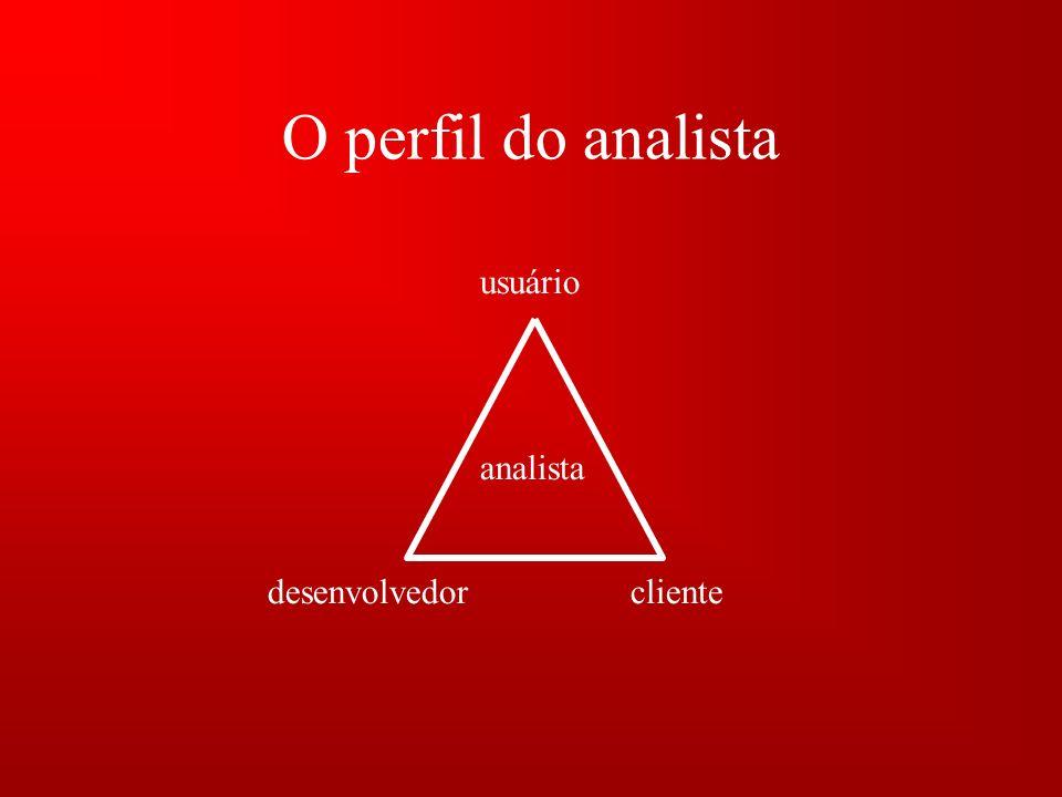 O perfil do analista usuário desenvolvedorcliente analista