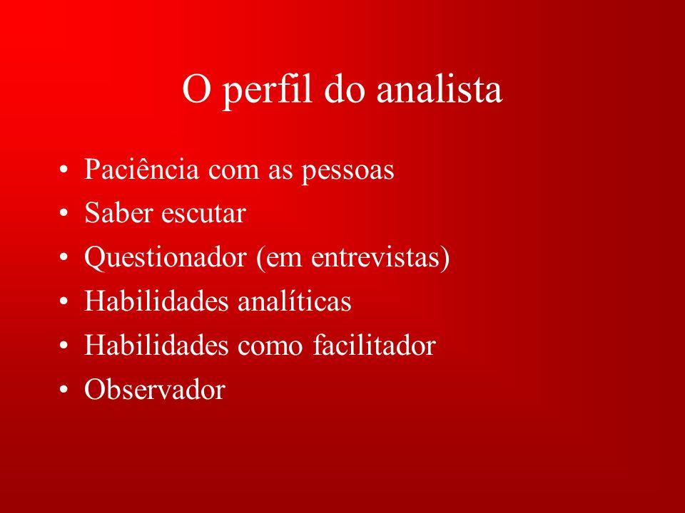 O perfil do analista Paciência com as pessoas Saber escutar Questionador (em entrevistas) Habilidades analíticas Habilidades como facilitador Observador
