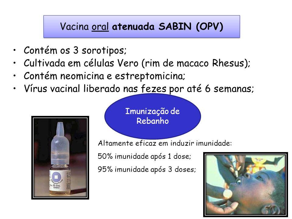 Altamente eficaz em induzir imunidade: 50% imunidade após 1 dose; 95% imunidade após 3 doses; Vacina oral atenuada SABIN (OPV) Contém os 3 sorotipos;