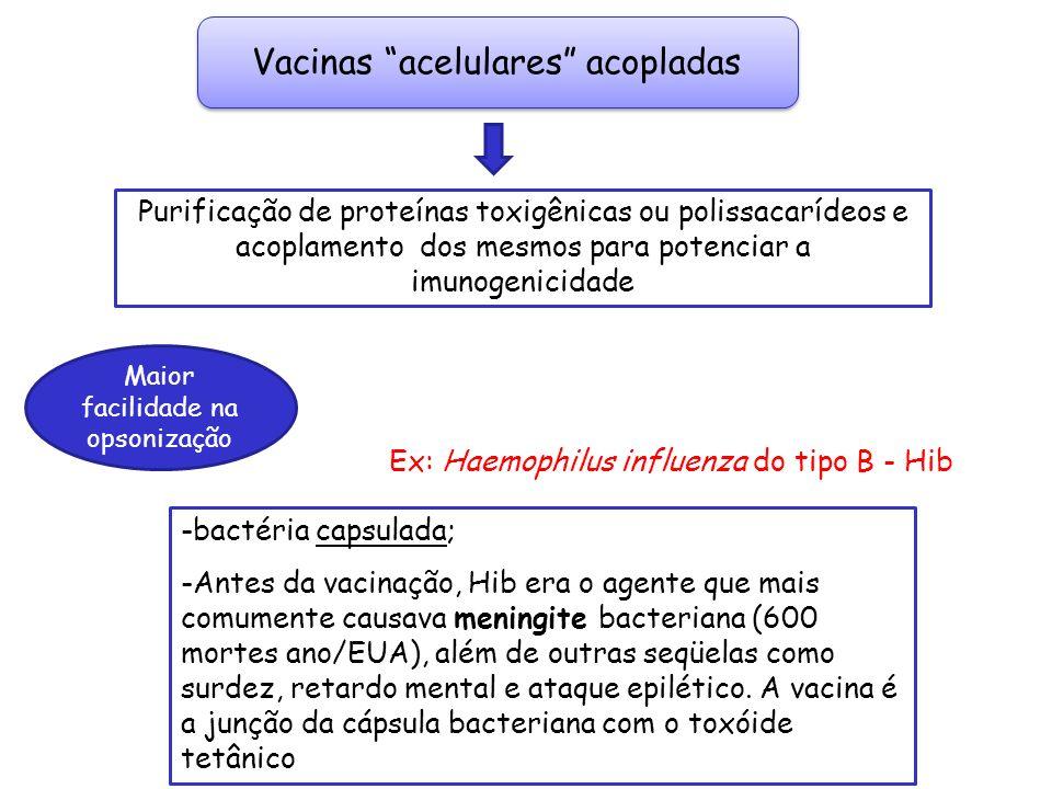 Ex: Haemophilus influenza do tipo B - Hib Vacinas acelulares acopladas -bactéria capsulada; -Antes da vacinação, Hib era o agente que mais comumente c