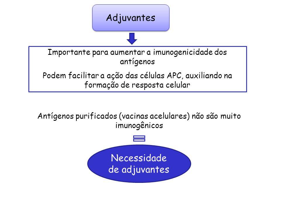 Adjuvantes Importante para aumentar a imunogenicidade dos antígenos Podem facilitar a ação das células APC, auxiliando na formação de resposta celular