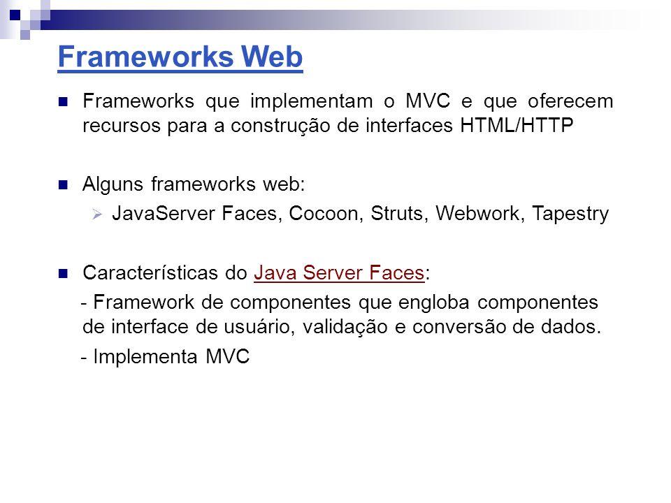 Frameworks ORM Tratam da persistência de dados em banco Mapeiam classes em tabelas do banco de dados Garantem portabilidade do código entre bancos Frameworks ORM de mapeamento completo gratuitos: Hibernate, Apache OJB, iBATIS, JDO Características do Hibernate: - Mapeamento de objetos em tabelas através de arquivos XML - API capaz de realizar inserções, remoções, atualizações e consultas - Linguagem de seleção orientada a objetos (Hibernate Query Language) Hibernate Usuario.java Id Nome Descricao Usuario.xml Id_user Nome descricao BD Mapeamento ORM