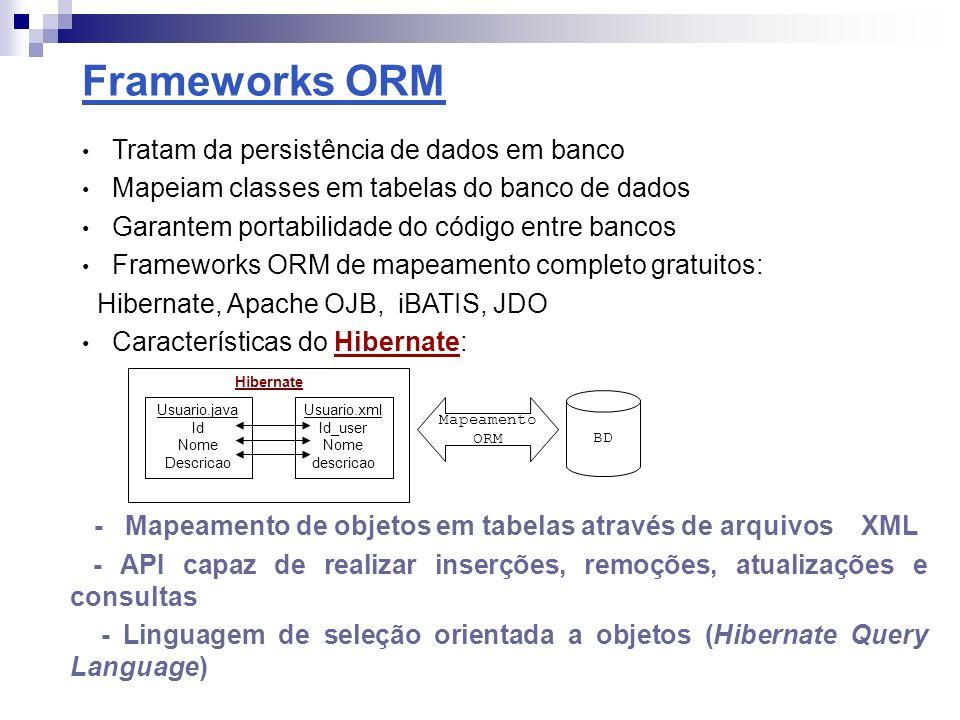 Frameworks para Injeção de Dependência Promovem o acoplamento fraco entre componentes através de injeção de dependência - Frameworks para Dependency Injection / Lightweight containeres: Excalibur, Hivemind, NanoContainer, PicoContainer, Spring Características do Spring: Gerenciamento de transações, segurança Programação distribuída, Programação orientada a aspectos Forum > Mensagem MensagemImpl Forum > Mensagem MensagemImplMontador > Figura 1-Relações sem Injeção de dependência Figura 2-Relações com Injeção de dependência >